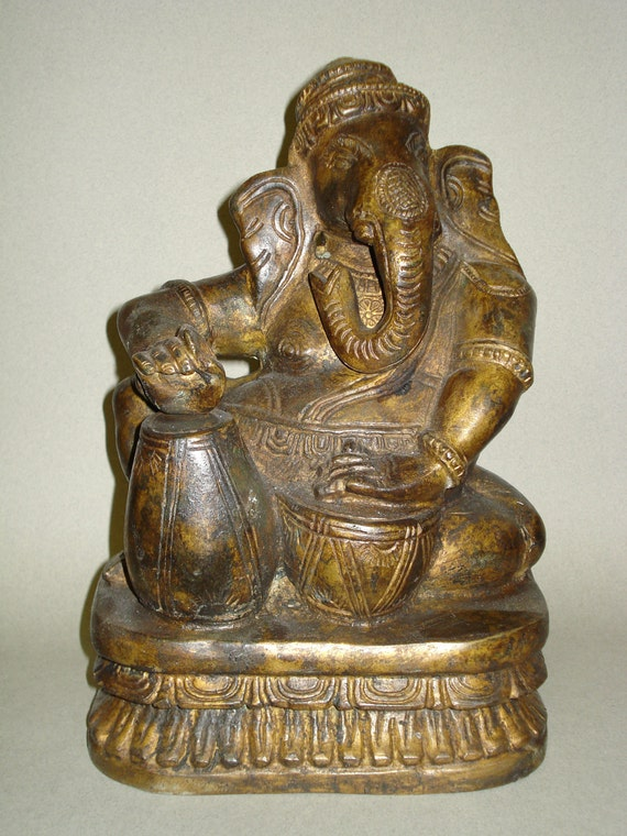 Vintage Bronze Figure of Ganesh, made in India