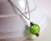 Grass green swirled hollow glass bead necklace, gifts for her, gifts under 15
