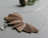 Lotus Sterling Silver Wood Veneer Statement Necklace