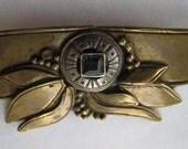 Vintage Brass Pin, Art Nouveau Pin, Brass Pin with Blue Stone