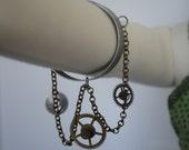 Steampunk Gear and Chain Arm Cuff Bracelet