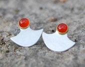 shield earrings - carnelian, brass, sterling silver