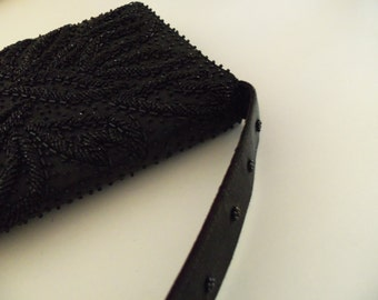 Faris Freres Hand Made Black Beaded Evening Purse,Clutch