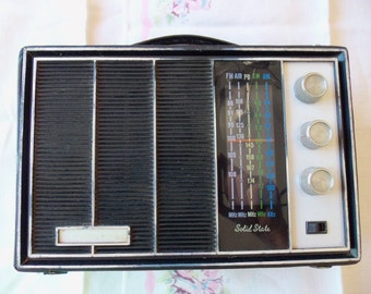 Vintage Radio Electro Brand AM FM Radio w/Leather Case Battery Or 110 volt