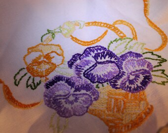 Pansie's Hand Embroidered Doily