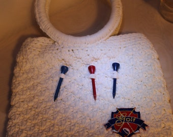 Golf Tees Crocheted White Purse with Golf Motif
