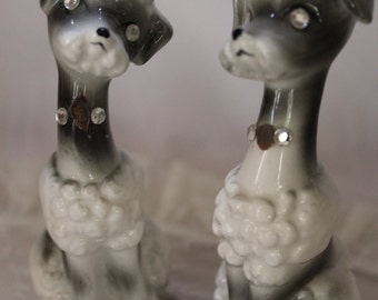 Vintage Poodle Salt and Pepper Shakers with Rhinestones