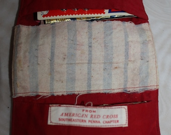 Vintage Hand Made Red Cross Red Pouch