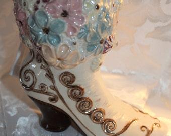 Vintage Victorian Boot Vase