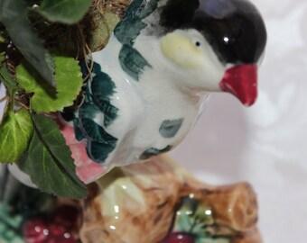 Bird Figurine with Foliage
