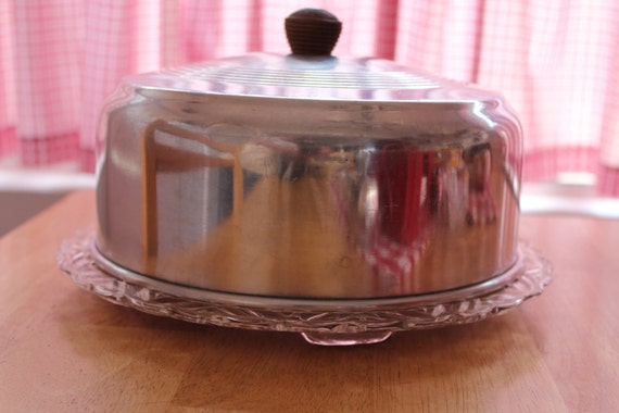 Footed Glass Cake Plate And Cover By Kromex 1950s