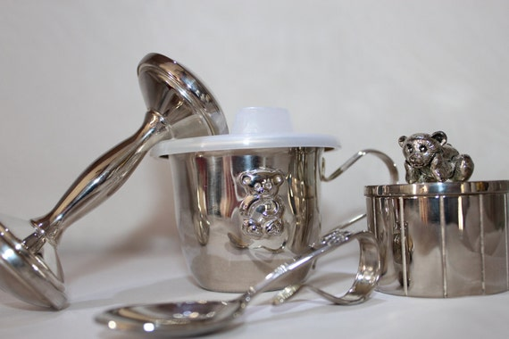 Silver plate Baby Cup Spoon Rattle First Tooth Trinket Box