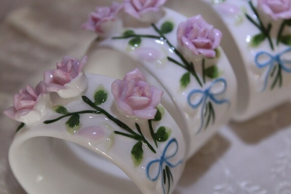 Porcelain Rose And Vines Napkin RIngs
