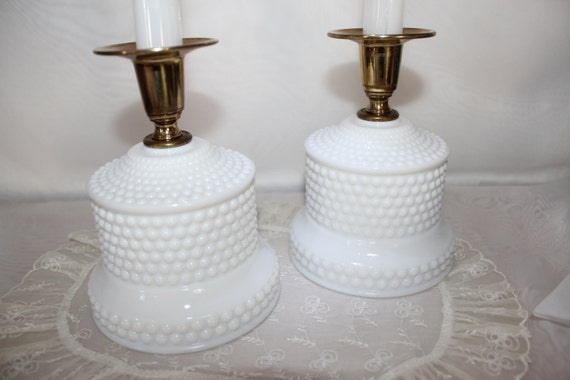 Reserved...... Candlestick Holders Hobnail Milk Glass