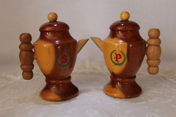 Salt And Pepper Shakers Wood Vintage