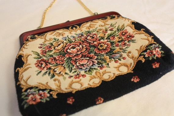 Vintage Tapestry Clutch Purse