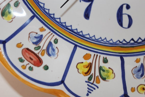 Hand Painted Ceramic Wall Clock