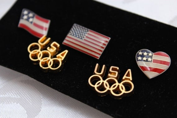 Vintage USA Olympic Rings Gold Toned Clutch Back Lapel Pins
