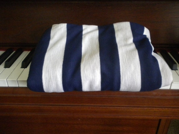 Navy Blue and White Striped Knit Fabric