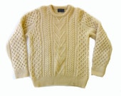 Vintage Pendleton Cable Knit Wool Maine Fisherman Sweater Medium Large
