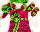 A truly wonderful pink and green baby girls dress,hat ,sandals and headband,