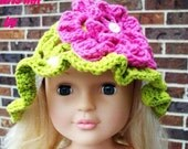 Green and pink baby crochet hat size 3-6 months