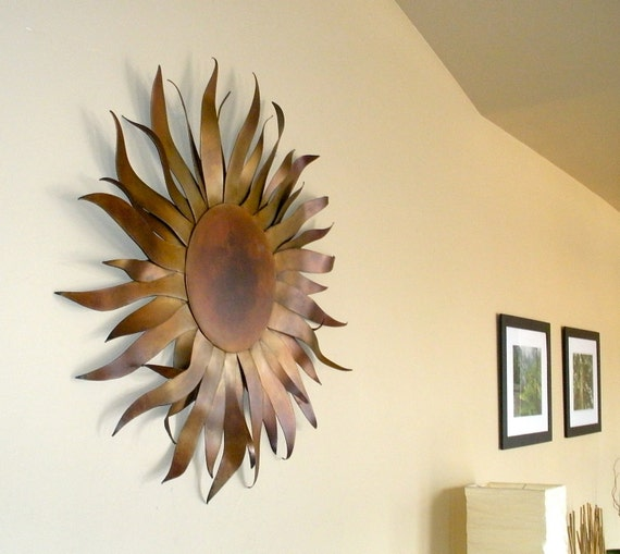 Sun Sculpture - Metal Garden & Home Art  With Copper Patina
