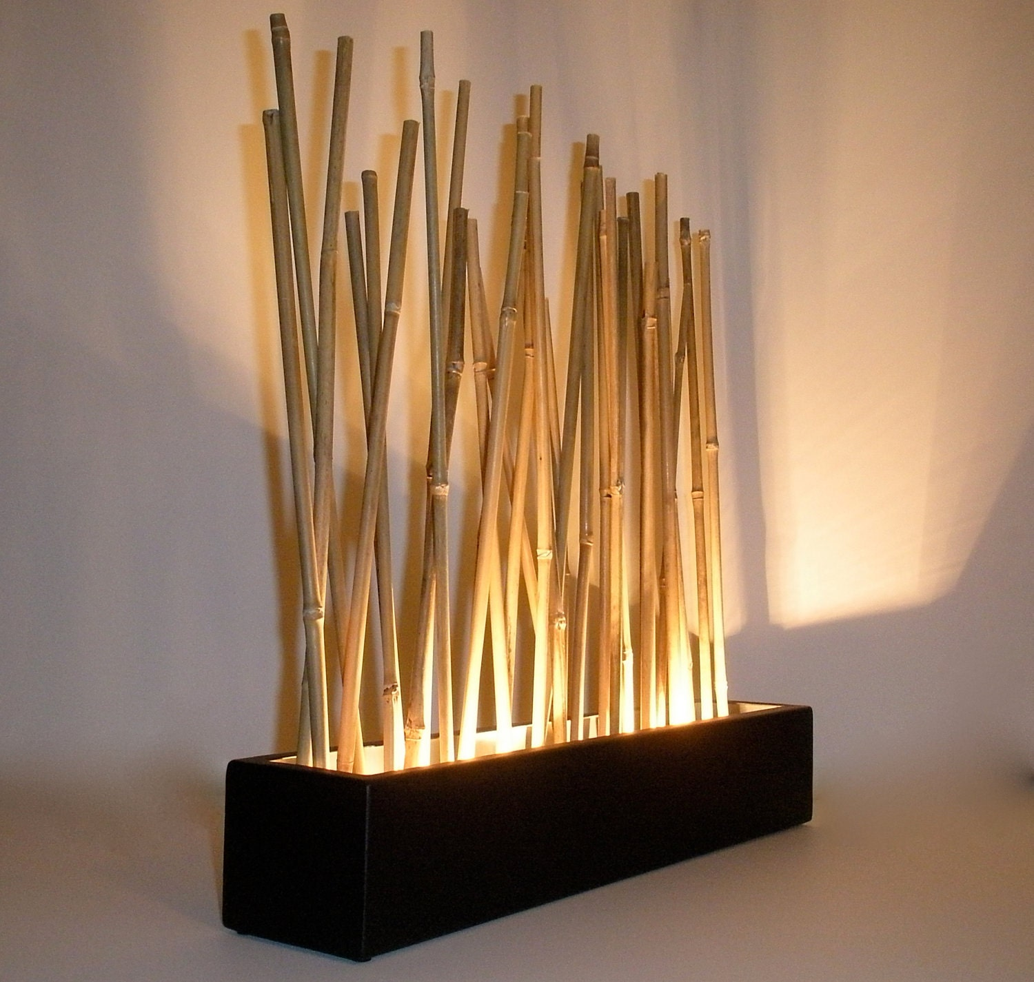 Bamboo mood lamp modern japanese style tabletop led accent for Interieur lumiere abat jour
