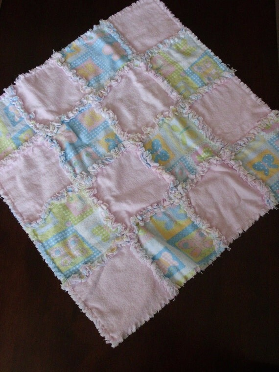 Pink Butterfly Car Seat Rag Quilt