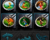 Disney Fairies Garden Party Pack - 6 Bottle Cap Necklaces - Birthday Party Favors- HD Images