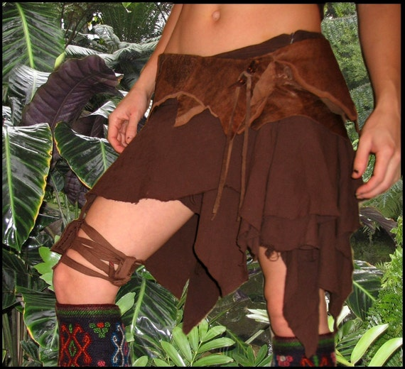 PREMADE and READY to SHIP ~ Tattered Pixie Skirt with Grommet Lace up Closure - Brown