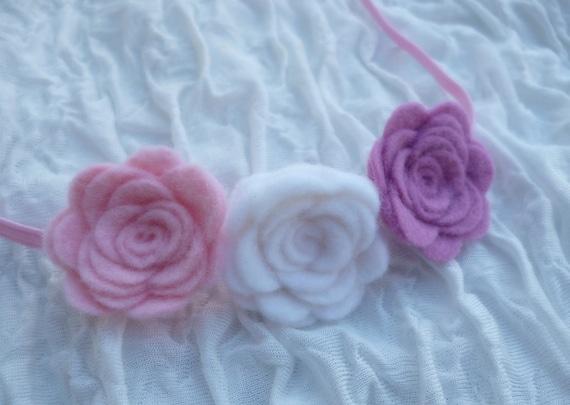 Felt flower headband, pink headband, newborn headband, baby headband, girls headband, newborn photo prop, headband