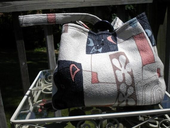 Vintage Bark cloth Handmade Atomic Retro Tiki Purse Tote