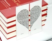 Valentine's Day bookmark, personalized two part heart, heart valentine. typewritten bookmark.