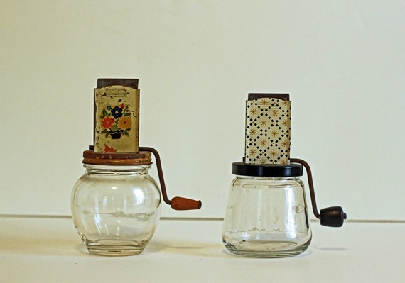 Pair of Vintage Nut Choppers - Grinders - Jars - Chippy Paint - Instant Collection