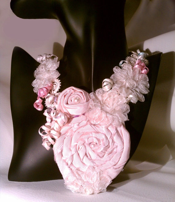 FREE SHIPPING Wedding Accessory Light Rose Floral Bib Statement Necklace
