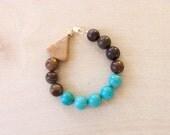 Wood Marble, Magnesite, Chrystanthemum Stone Bracelet