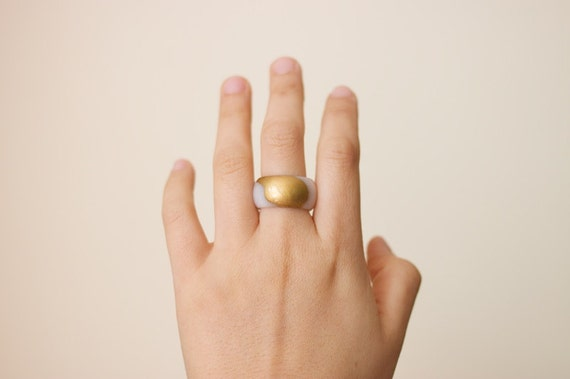 Gold Dipped Jade Ring / JR12