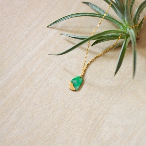 Jade Charm 2 / Gold dipped Jade Necklace