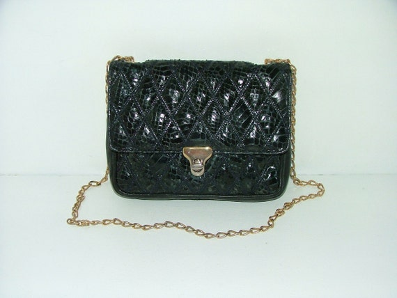 Vintage dark blue quilted patchwork snakeskin and leather chain strap handbag or clutch bag
