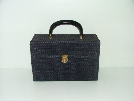 Vintage 60s box boxy handbag navy crocheted bag rockerbilly