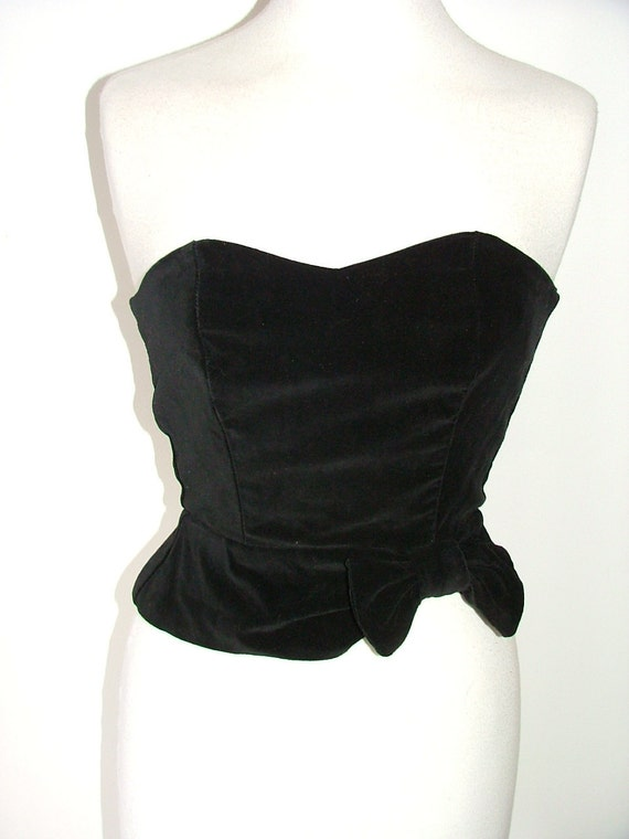 Vintage black velvet  strapless bustier corset boned crop top with bow detail size XS S UK 6 8