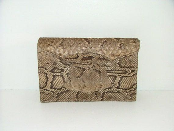 Vintage 1930s Art Deco real snakeskin leather large clutch bag reptile lizard python handbag