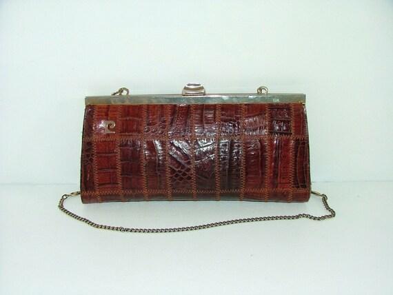 Vintage Pierre Cardin real crocodile skin patchwork brown chain purse or clutch handbag