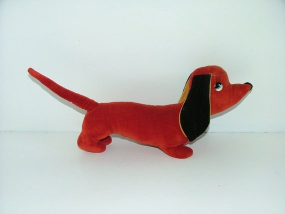 Vintage Merrythought red velvet sausage dog dachshund soft toy plush teddy collectable