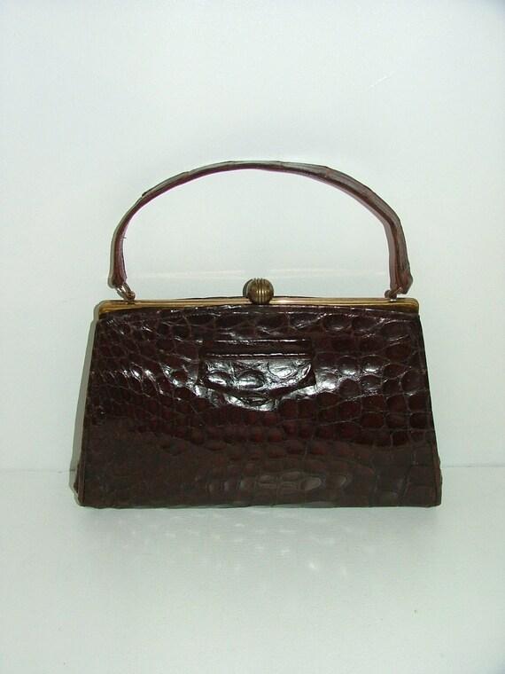 Vintage 30s 40s real crocodile skin leather medium kelly handbag or clutch bag
