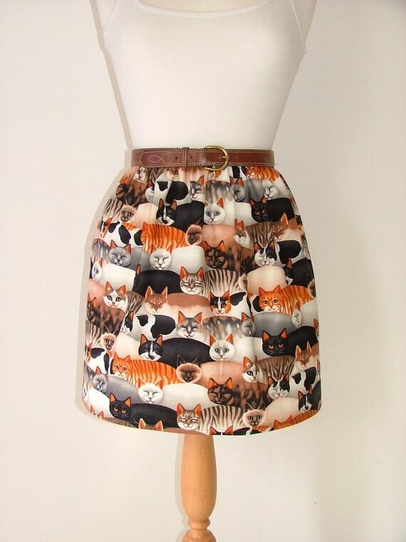 Handmade high waisted skirt made with cat fabric