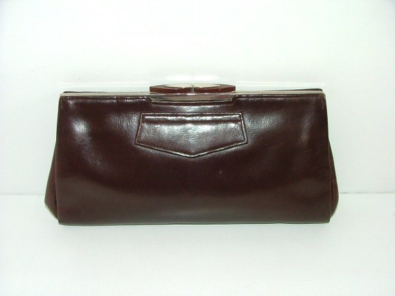 Vintage 40s WW2 brown leather medium clutch bag handbag