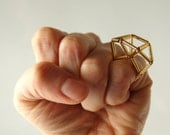 Geometric Gold Ring Architectural Structured Bugle Beads