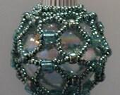 Miniture Turquoise Pearl Beaded Christmas Ornament